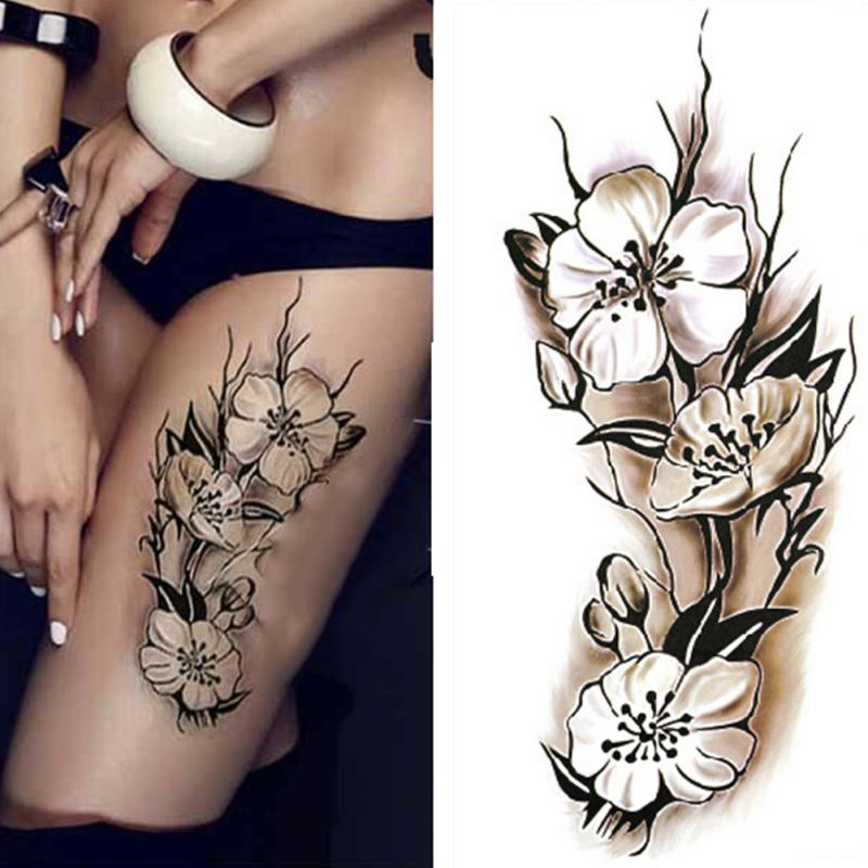 Sexy women temporary tattoo plum blossom waterproof tattoo for How to make fake skin for tattooing