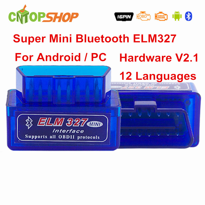 Factory Direct Price ELM327 Bluetooth ELM 327 V2.1 Super Mini OBD2 Code Reader ELM327 OBDII Diagnostic Scanner Multi-Language(China (Mainland))