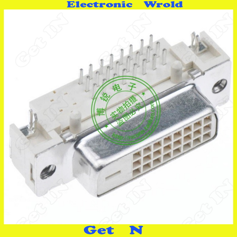 5pcs High-quality Spot Supply Taiwanese DVI 24+1 Connector 90degree Cruved legs DVI Adapter(China (Mainland))