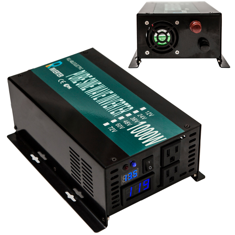 Reliable pure sine wave power inverter off grid 1000w 24v 120v 60hz dc ac voltage converter for home solar invertor car inverter(China (Mainland))