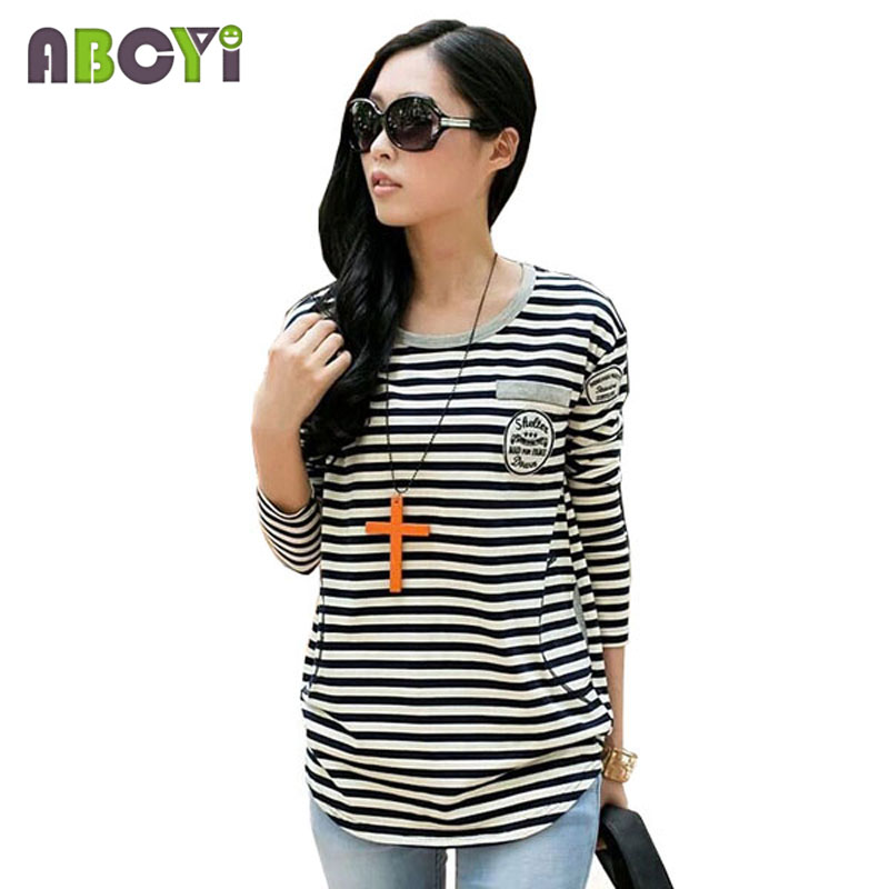 Red navy blue striped maternity tops fashion long sleeve for Navy blue striped long sleeve shirt
