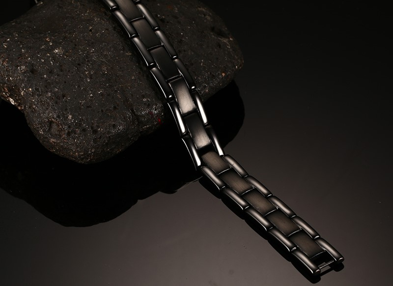 Vnox 100% Titanium Health Bracelet Bangle For Men Jewelry Magnet Hand Chain Black Plated