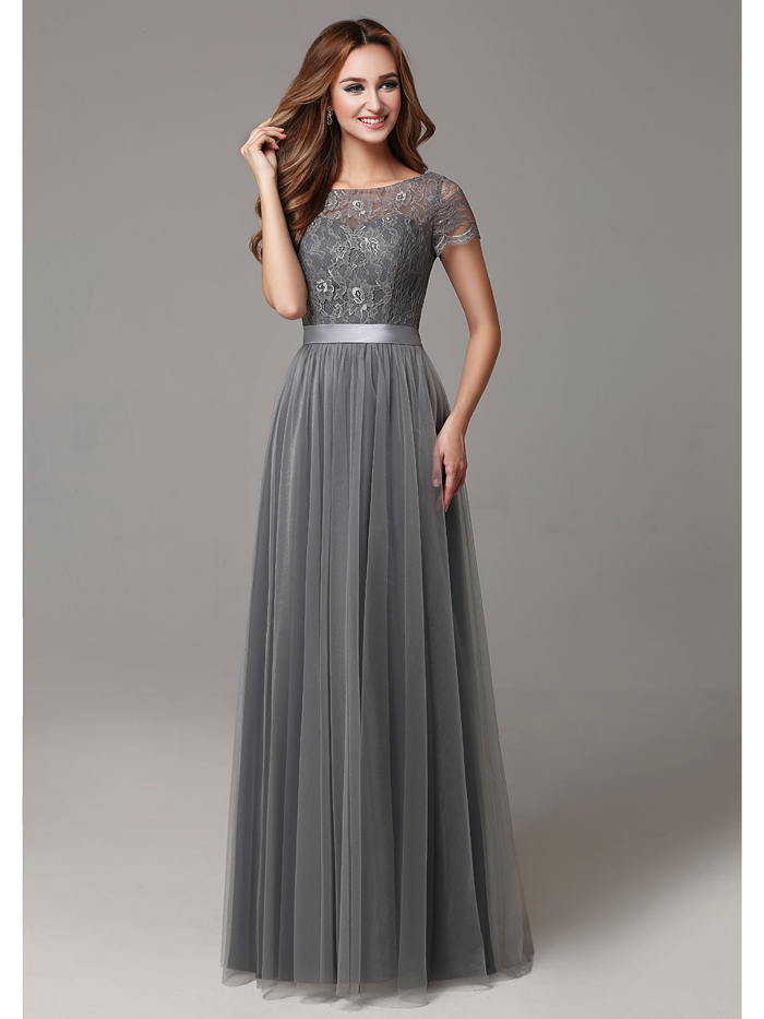 2017 Grey Long Modest Lace Tulle Floor Length Women ...