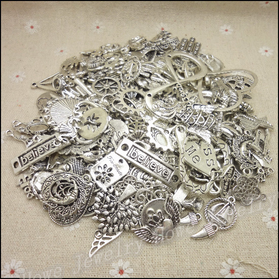 Free shipping!Hot 40-80 type Tibetan silver charm Mixed 100g  Alloy Pendant DIY for bracelet necklace  jewelry making(China (Mainland))