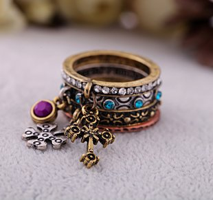 2014 New Arrival Set Of 4 Pcs Antique Gold Retro Vintage Cross Metal Stack Rings Set For Women Jewelry(China (Mainland))