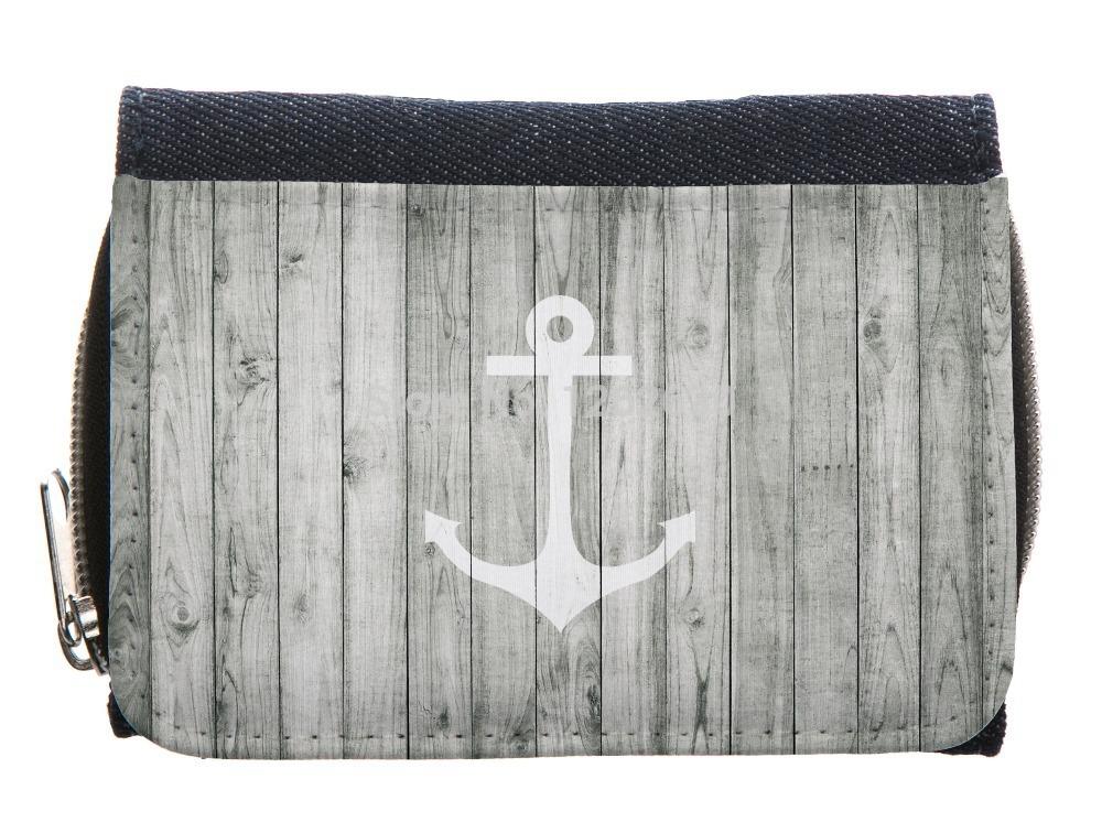 Vintage White Nautical Anchor On Gray Wood Pattern Print