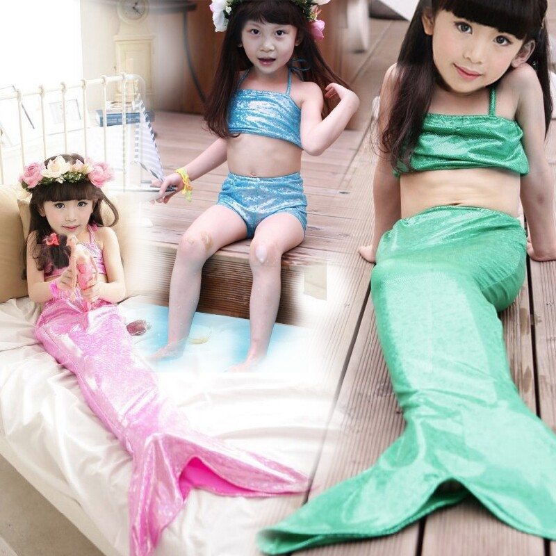 2015 Cute Girls Swimwear Children's Mermaid Swimsuit Swimming Kids Swim Wear Child swimming mermaid tail - Mom loves me store