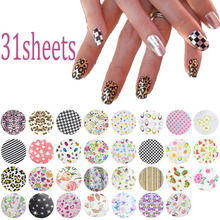 31Pcs/lot 20*4cm Symphony Nail Foil Sticker Flower Style Nail Art Transfer Foil Decal DIY Beauty Craft Nail Decorations Supplies(China (Mainland))