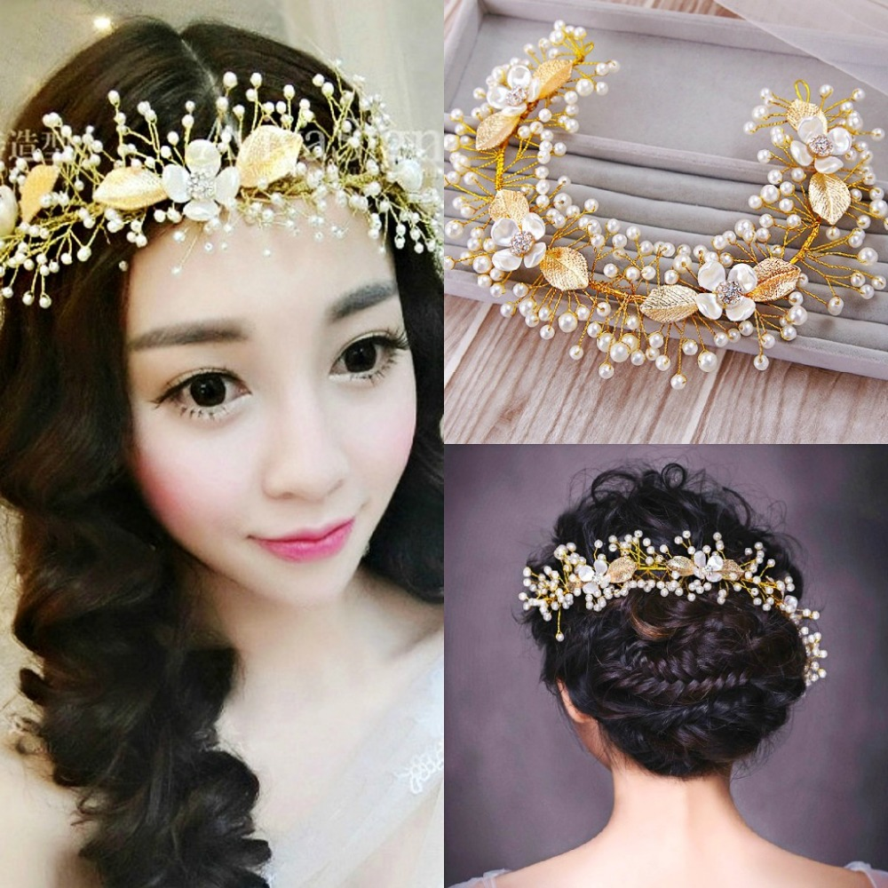 Buy fashion bridal gold leaf hairwear for Where to buy wedding accessories