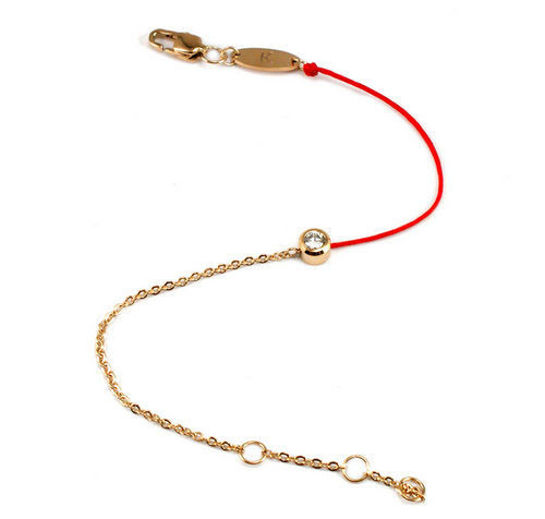 2015-Hot-Selling-Simple-Red-Rope-Rose-Gold-Half-Red-Rope-Line-Single-Crystal-bracelet-Free