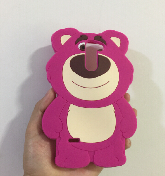 LG G3 Stylus D690 3D Silicon Strawberry Bear Cartoon Soft Phone Back Skin Case Cover - ALEX ZHOU Store store