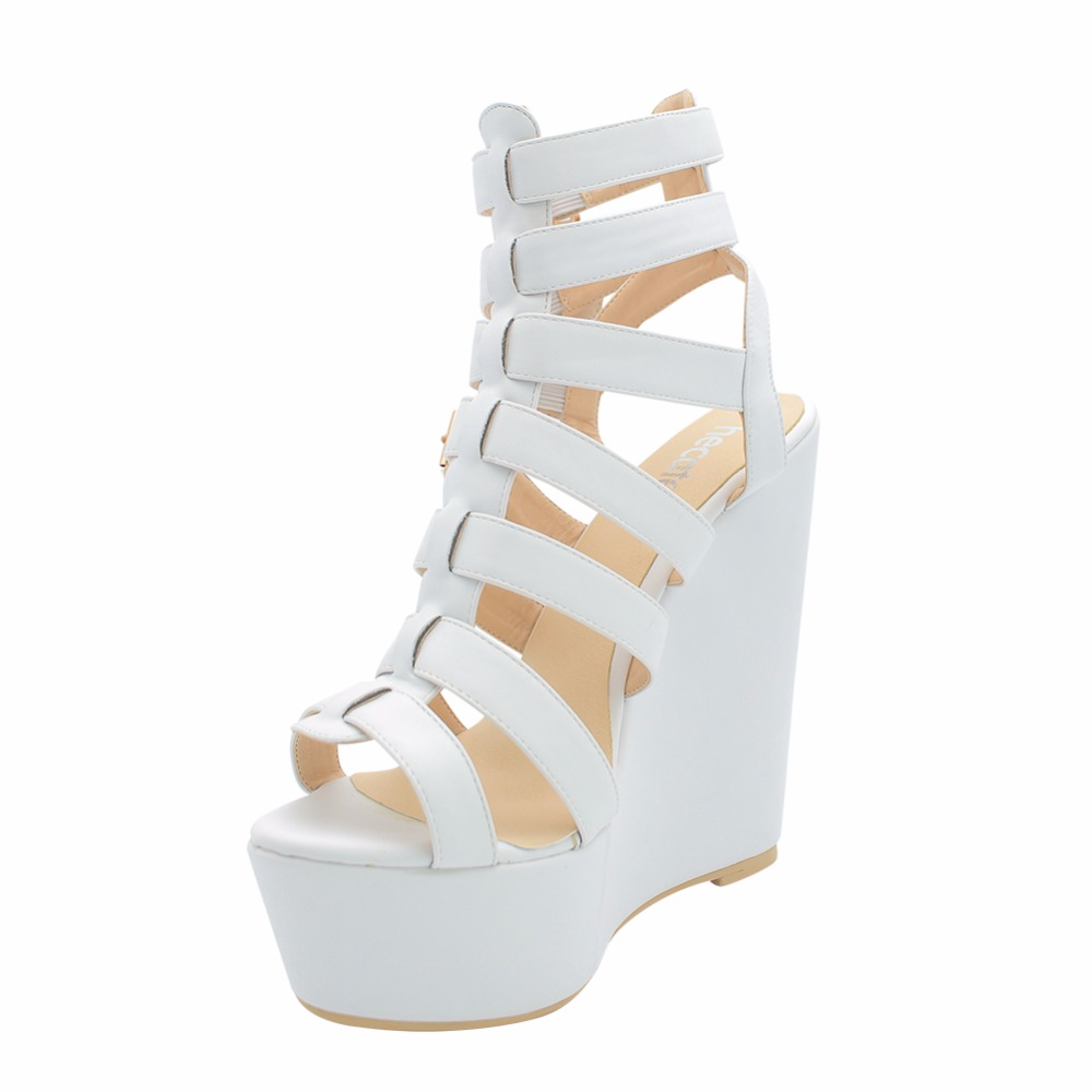 2016 Cruel Summer Sex Party White Gladiator Shoes For Women Fashion Wedge Sandals Buckle Strap Zapatos De Mujer(China (Mainland))