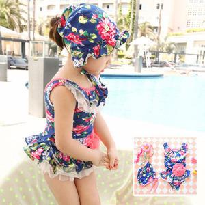 2015 Floral One Piece Little Kids Bathing Suit Cute Baby Swimwear for Girls Maillot de Bain Fille Enfants Girls Tutu Swimsuit(China (Mainland))