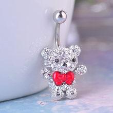 אדום עניבת פרפר קטן דוב טבור טבור טבעות 316L כירורגי פלדה Kawaii פירסינג לנשים 14G 1.6mm בר סקסי גוף תכשיטים(China)