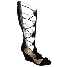 Women's Sexy Faux Leather Back Zipper Strappy Cut Out Knee High High Wedge Heel Platform Gladiator Sandals Shoes(China (Mainland))