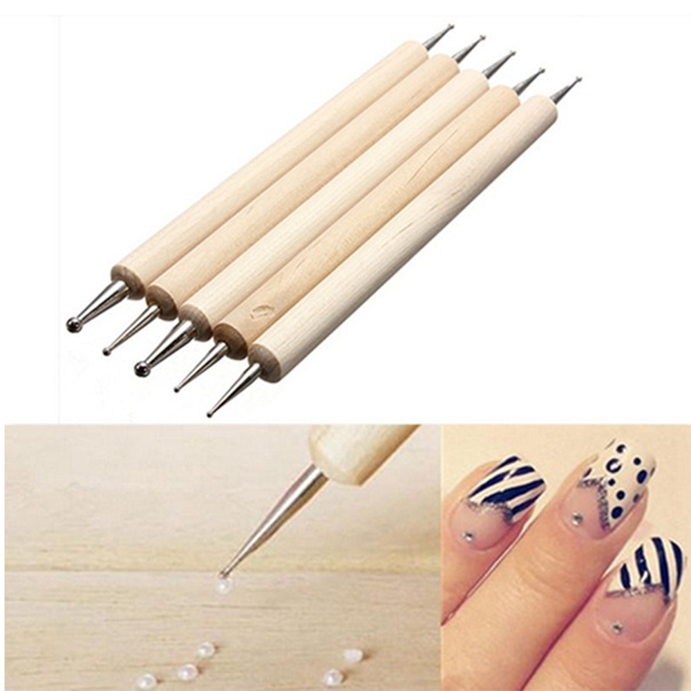 5Pcs/set 2 Way Wooden Dotting Pen Marbleizing Tool Nail Art Dot Dotting Tools