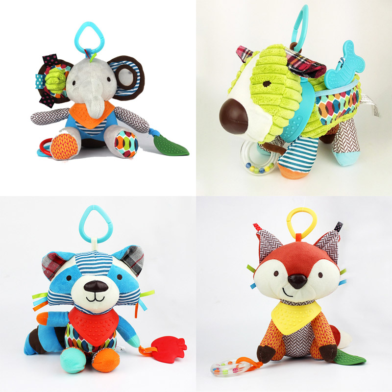 15cm*23cm Cute Cartoon Baby Toy Rattles Soft Comfort Plush Toy Animals Cat/Dog/Elephant/Monkey/Raccoon Baby Toys Doll Brinquedos(China (Mainland))