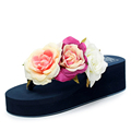 Summer style women shoes muffin sandals flip flops slope with non slip Rose high heels slippers