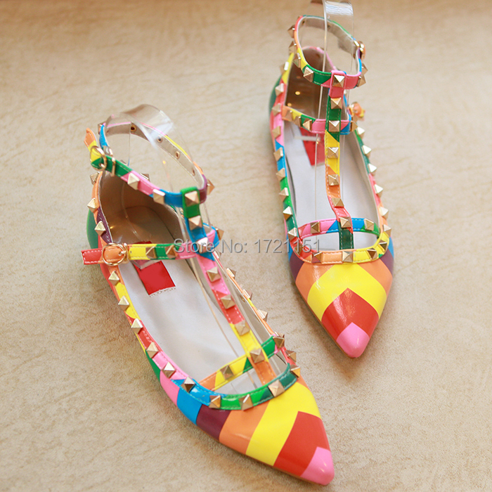 2015 spring rivet pointed toe flat genuine leather shallow mouth rivets bandage colorful shoes flats female fashion footwear(China (Mainland))