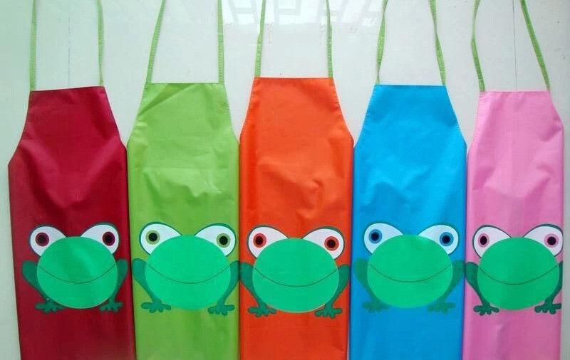 Cartoon Frog Pattern Kids Children Waterproof Painting Eating Apron Outwear(China (Mainland))