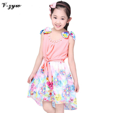 New Teenage Summer Sleeveless Bow Chiffon Dress Girls Flower Kids Children's Clothes For Party YS031