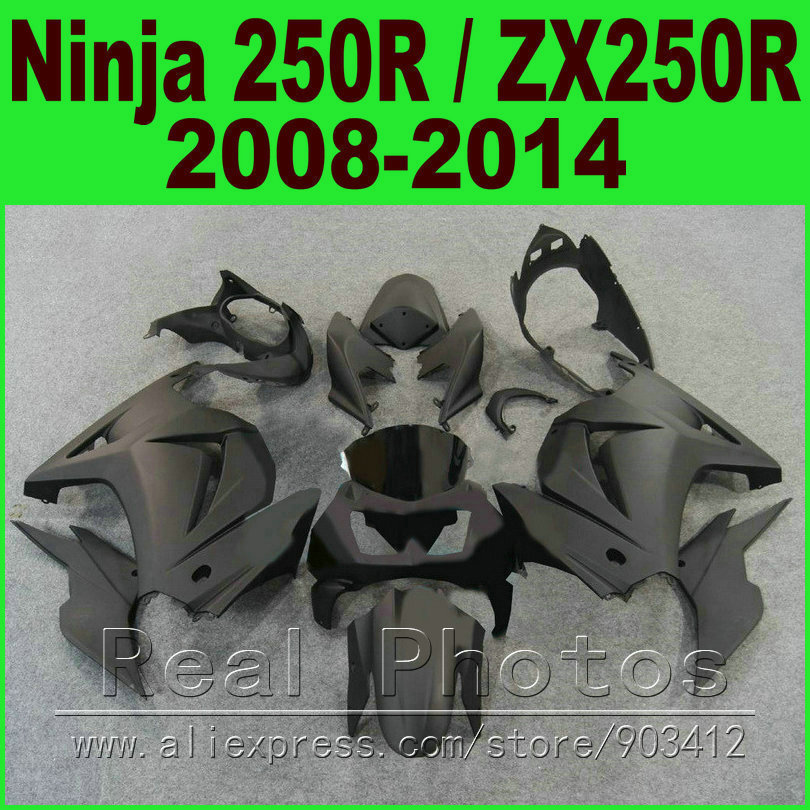 Flat matte black Kawasaki Ninja 250r green white Fairings EX250 year 2008 - 2014 ZX 250 fairing kits parts R9L9(China (Mainland))