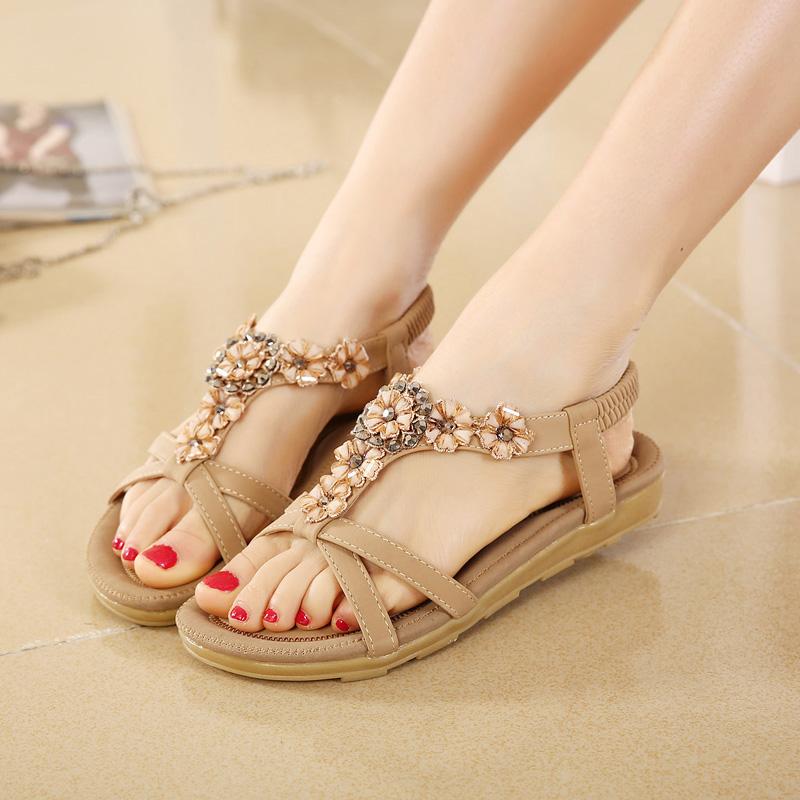 Aliexpress.com Comprar De la mujer 2016 Nuevo Verano Sandalias Planas de Las Señoras de Bohemia Del Verano Flip Flop Zapatos de Playa Zapatos de Las