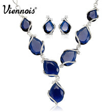 Viennois Luxury Silver Plated Blue Crystal Rhinestone Jewelry Set Earrings & Necklace For Women Wedding Jewelry(China (Mainland))