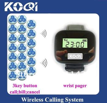 Low price Wireless transmitter kitchen<20pcs 3-key (call;bill;cancel) call bell button and 2pcs wrist pager receiver >