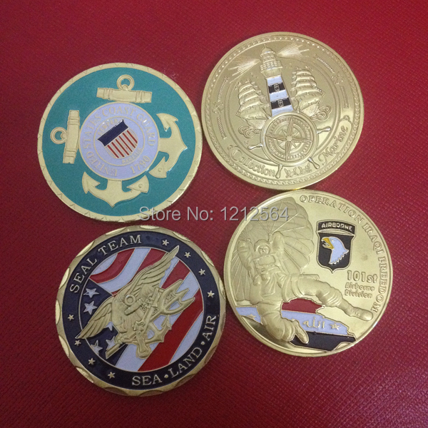 20PCS/lot American Officer challenge coins US Army coin, Mix 4 designs gold plated colorized replica coins(China (Mainland))