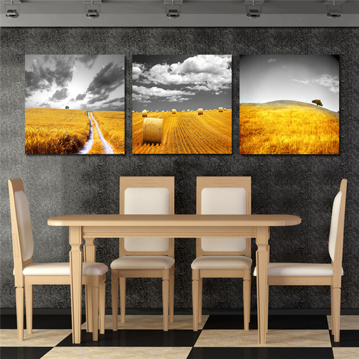 3 Panels Wall Art Landscape Paintings Modern Home Decor Gold Wheat Field Pictures Quality Canvas Cuadros Decoracion Hot - Your Unique Decoration store