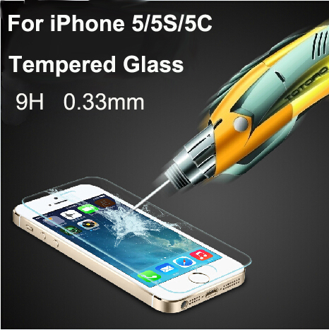 Free Shipping 0.33mm Ultra Thin HD Clear Explosion-proof Tempered Glass Screen Protector Cover Guard Film for iPhone 5 5C 5S(China (Mainland))