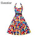 Clocolor Vintage dress backless Summer Rockabilly Dress A line Cotton Blends Dress sleeveless strapless fashion vintage