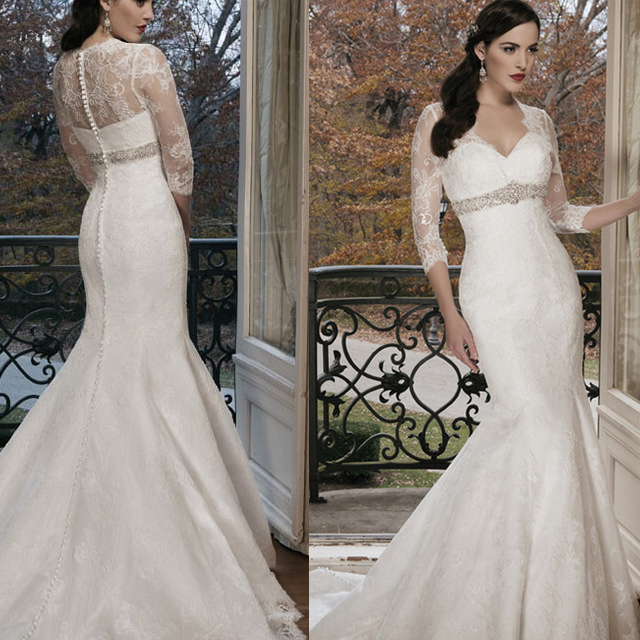 Plus Size Wedding Dresses 3 4 Sleeve : W sleeve fashionable real photo plus size custom made