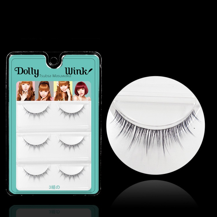 Dolly Wink 3 Pairs/Lot 3D Double Layer False Eyelash Extension MX01 Makeup Cosmetics Natural Crisscross Tapered Fake Eye Lash - LBB Commercial Co., Ltd. store