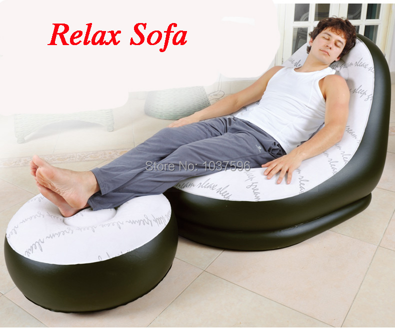 new fashion Jilong single person inflatable sofa bed set in living room furniture bean bag sofa,include repair patch(China (Mainland))