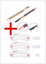 3 Eyebrow Shaping Stencils Grooming Kit Makeup Tools+1 Eye Brow Pencil Brush shadow for eyebrow pencil maquillage makeup styling