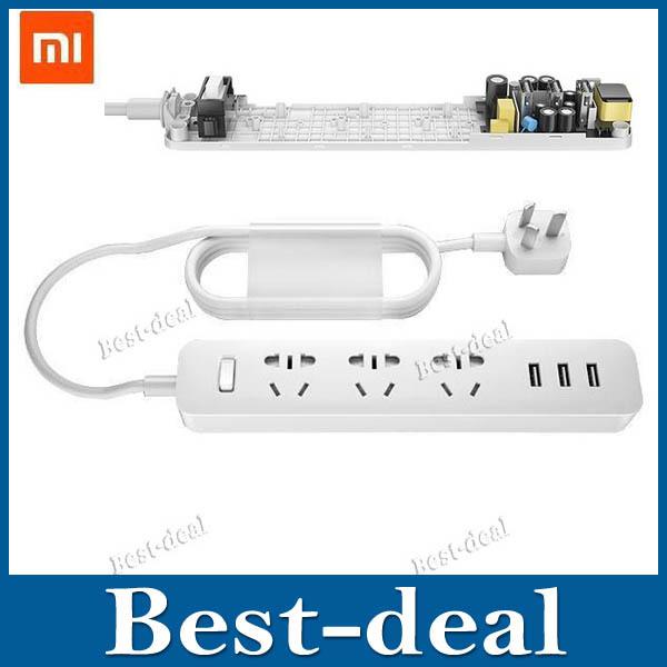 Original XiaoMi Mi 3 USB Charging Ports Mini Smart Power Strip with 3 Sockets Support AU / EU / US Standard Plug for Sm(China (Mainland))