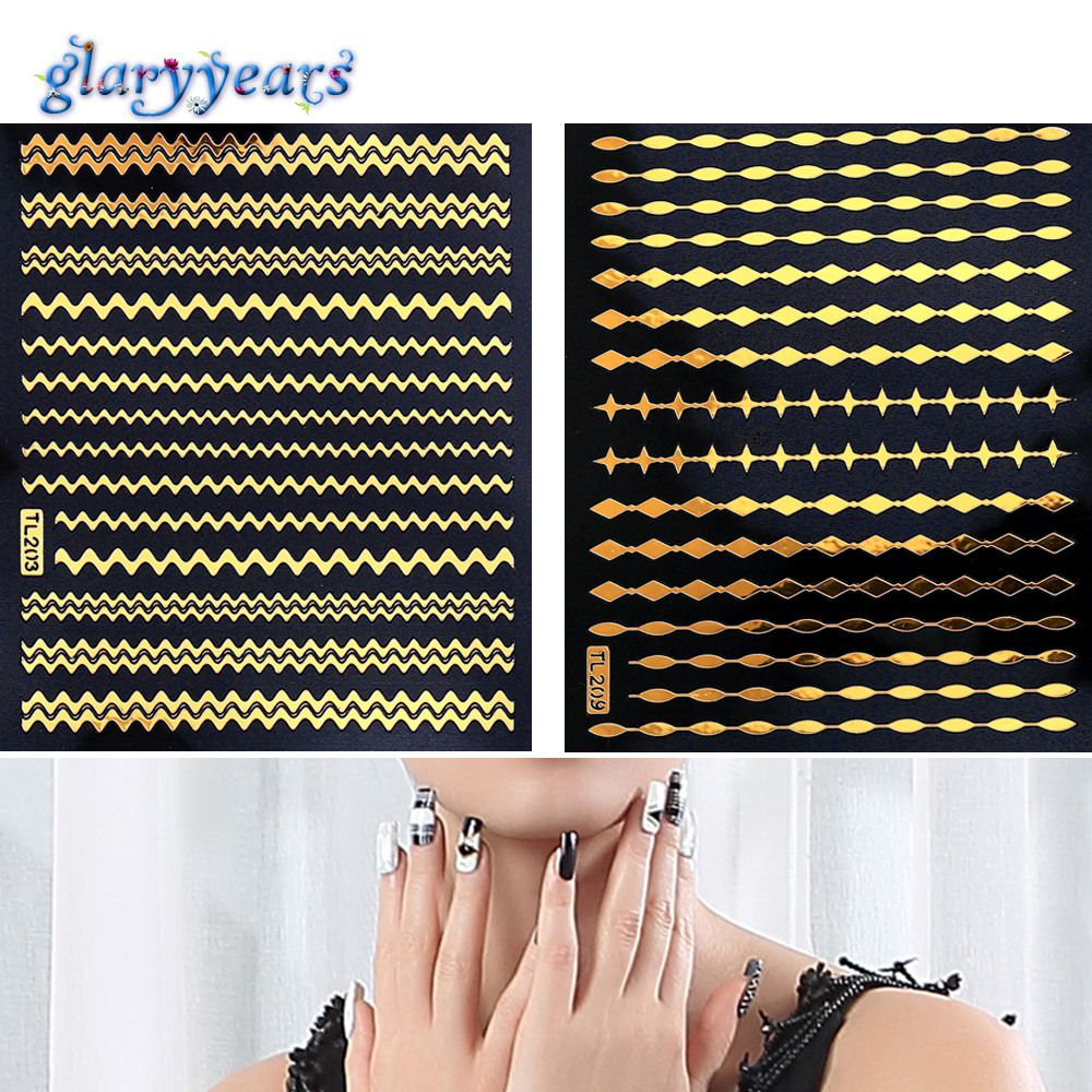12 Gold Design 1pc Nail DIY Metallic Decal Nail Sticker Polka Dot Line Strip Form Women Manicures Nail Art Tool Nail Sticker New(China (Mainland))