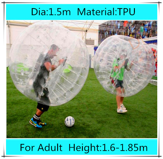 1.5m TPU inflatable bubble football soccer zorb ball for adult, inflatable human hamster ball bumper ball Outdoor Fun & Sports(China (Mainland))