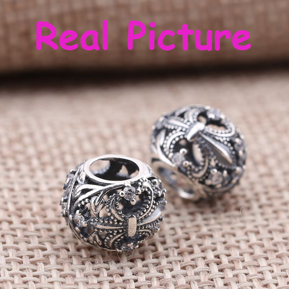 Fits Pandora Charms Bracelet 100% 925 Sterling Silver Beads Openwork Fleur de Lis Silver Charm with Clear Zircon Jewelry Making<br><br>Aliexpress