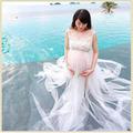 Summer Style White Chiffon Maternity Long Dress Pregnant Photography Props Fancy Pregnancy Photo Shoot Beach Top