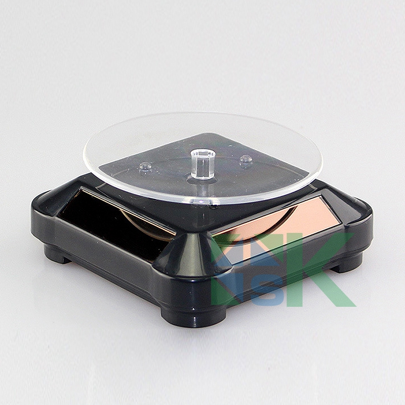 Free shipping Rotating Solar Coin Display Base Coin/Phone/Watch Display Stand Holder With LED Light 360 Turnable Rotary Base(China (Mainland))