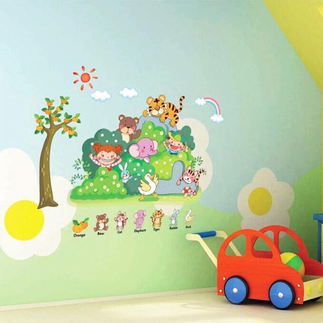 Джунгли дикие мультфильм зоопарк животных стены наклейки для детского сада и детская комната съемные котировки 3D наклейки для детей номеров