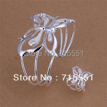 WS95  Whole Fashion Jewelry /love  Gifts / New Hot 925 Silver Butterfly Bracelet , Ring Set / Free shipping(China (Mainland))