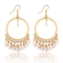 Fashion Jewelry Bohemian Plastic Beads Drop Earrings Acrylic Colorful Beads Alloy Tassel Dangle 2015 Earrings For Women PD21(China (Mainland))