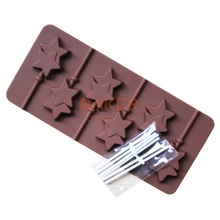 Silicone mold 6 lattices double Pentagram lollipop mold DIY star chocolate mold comes with plastic rod CDSM-068(China (Mainland))