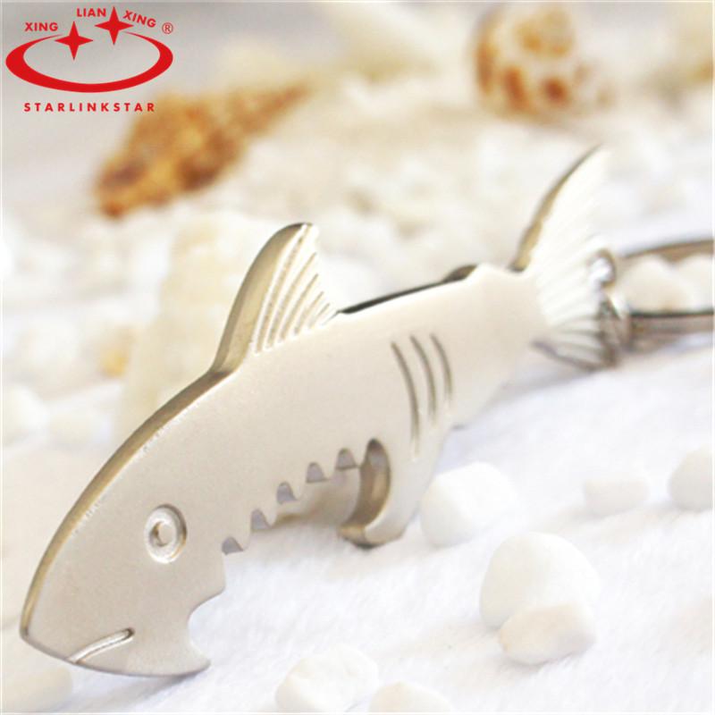new stylish stainless steel shark bottle opener fish keychain keyring key ring chain portable. Black Bedroom Furniture Sets. Home Design Ideas