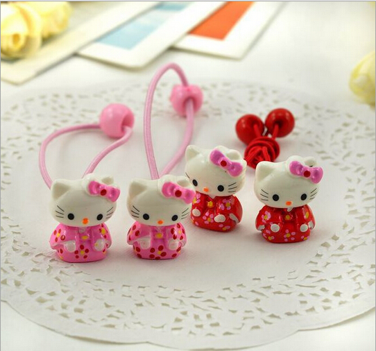 2016 Baby girl's styling tool hello kitty elastic hiar bands headwear hair accessories for women kids make they cute lovely(China (Mainland))