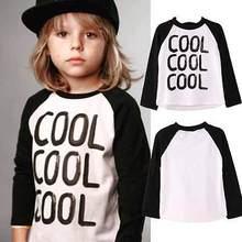 2015 Kids Baby Girls Boys Letter Print T-shirt long Sleeve kids Tops, cotton children's - paopaoya store